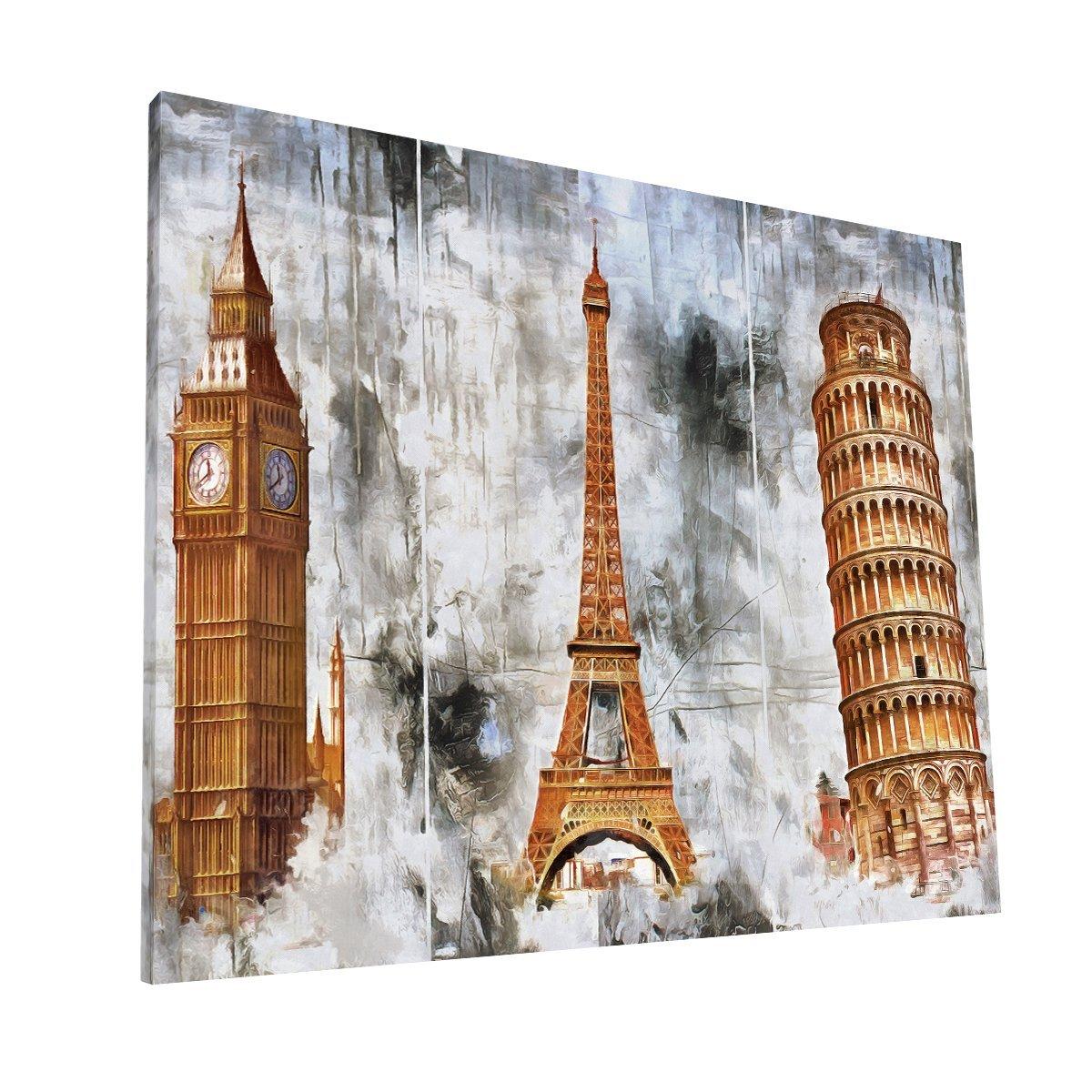 Londres Paris y Pisa Canvas H Krea Canvas - Cuadros Decorativos Para Salas