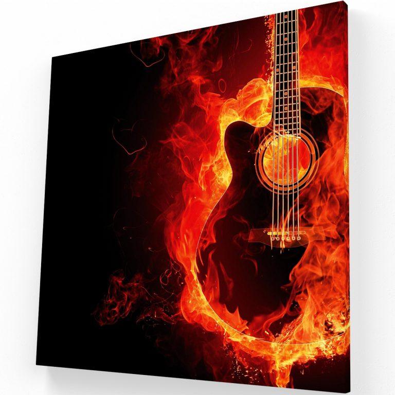 Guitarra en fuego Canvas Krea Canvas - Cuadros Decorativos Para Salas